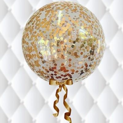 בלון בועה שקוף במילוי קונפטי זהב