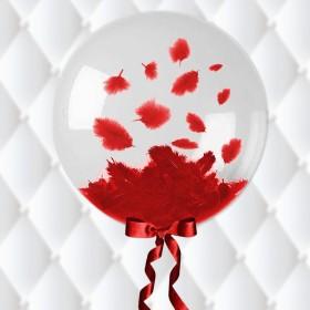 בלון בועה במילוי נוצות אדומות