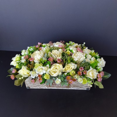 סידור פרחי משי,סידור פרחים מלאכותיים,פרחי משי